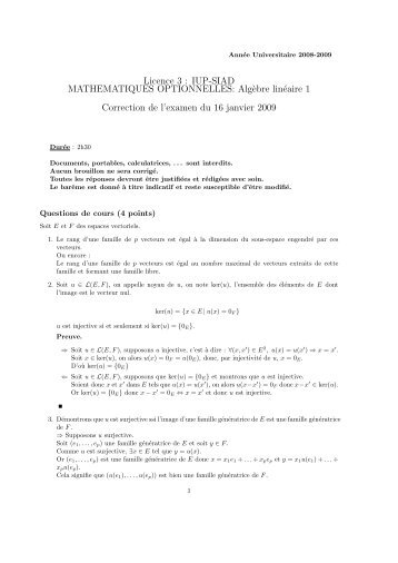 Corrigé - Université Lille 1
