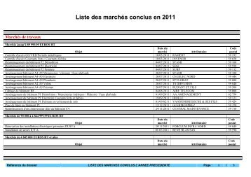 Liste des marchés conclus en 2011 - Université Lille 1
