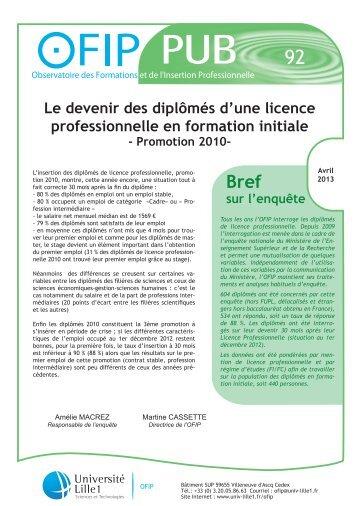 Le devenir des diplômés d'une licence ... - Université Lille 1