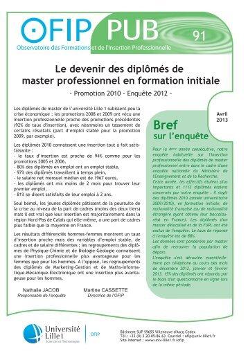 Le devenir des diplômés de master professionnel ... - Université Lille 1