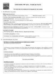 CONCOURS ITRF 2013 — FICHE DE POSTE - Université Lille 1
