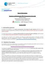 Examens professionnels ITRF d'avancement de ... - Université Lille 1
