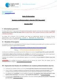 Note d'information Examens professionnalisés ... - Université Lille 1