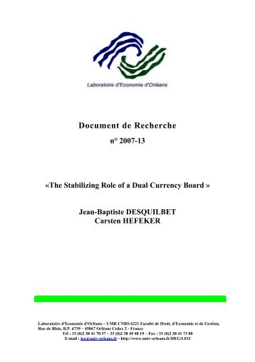 The Stabilizing Role of a Dual Currency Board - Université d'Orléans