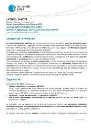 LICENCE - MASTER Cursus master ingénierie ... - Université Lille 1