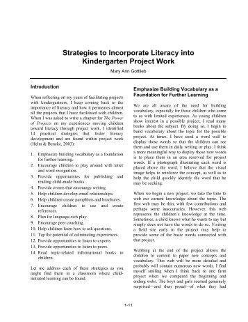 Strategies to Incorporate Literacy into Kindergarten Project Work