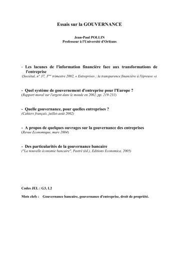 Cinq essais sur la GOUVERNANCE - Université d'Orléans