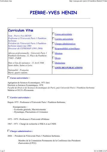 Curriculum vitae - Université Paris 1 Panthéon-Sorbonne