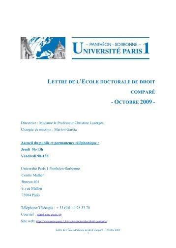 octobre 2009 - Université Paris 1 Panthéon-Sorbonne
