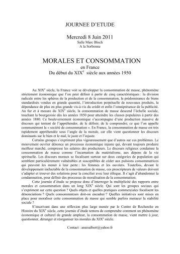 morales et consommation - Université Paris 1 Panthéon-Sorbonne