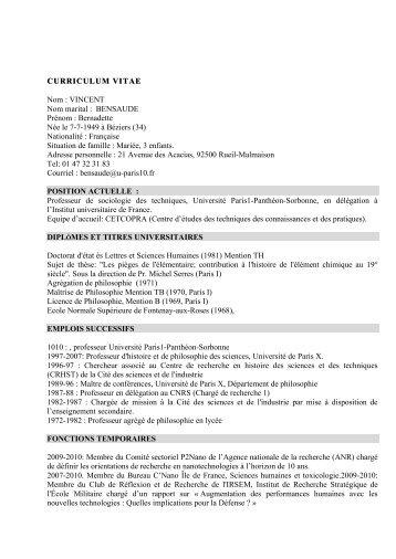 CURRICULUM VITAE CURRICULUM VITAE Nom - Université Paris ...