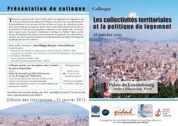 Les collectivités territoriales - Université Paris 1 Panthéon-Sorbonne
