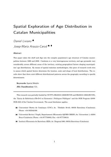Spatial Exploration of Age Distribution in Catalan Municipalities