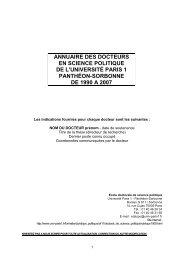ANNUAIRE DES DOCTEURS - Université Paris 1 Panthéon-Sorbonne