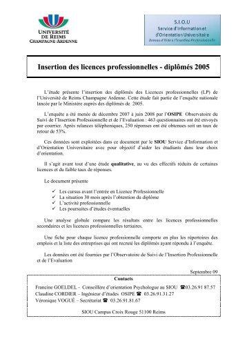 Insertion des licences professionnelles - diplômés 2005