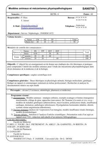 Modeles animaux et mecanismes physiopathologiques _Rieu_2012