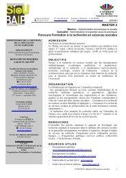 MASTER 2 Parcours Formation à la recherche en sciences sociales