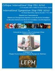 Colloque International Stop FEU 2010 International Symposium ...