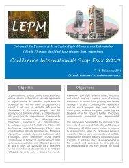 Conférence internationale « Stop Feu - Université des Sciences et ...
