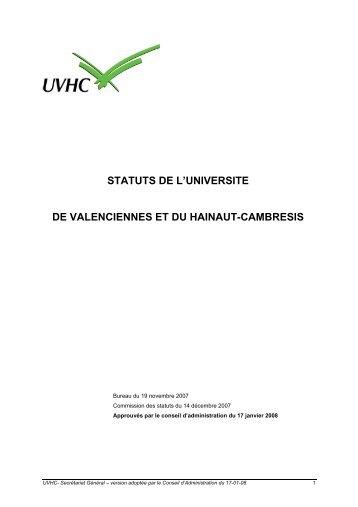 statuts de l'universite de valenciennes et du hainaut-cambresis