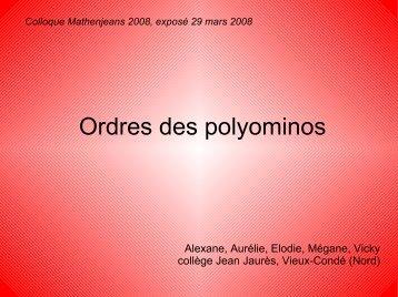 Ordres des polyominos