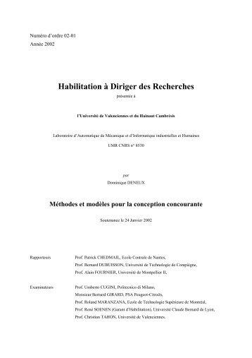 mémoire d'HDR - Université de Valenciennes et du Hainaut ...
