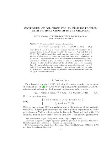 CONTINUUM OF SOLUTIONS FOR AN ELLIPTIC PROBLEM WITH ...