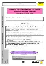 Dossier de candidature 2013-2014 Institut des Sciences et ...