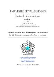 UNIVERSIT´E DE VALENCIENNES Master de Mathématiques