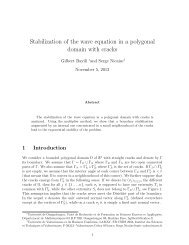 Stabilization of the wave equation in a polygonal domain with cracks
