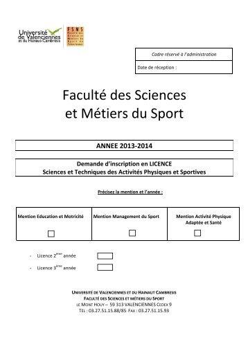 DOSSIER PREINSCRIP - Université de Valenciennes et du Hainaut ...