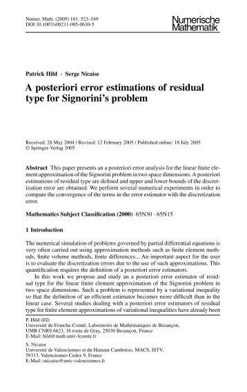 A posteriori error estimations of residual type for Signorini's problem