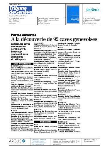 A la découverte de 92 caves genevoises - Univerre