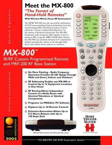 With Wireless Whole House RF Automation! - Universal Remote ...