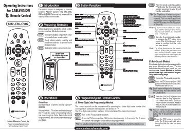 Programming Instructions and Codes - Universal Remote Control