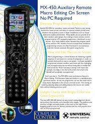 MX-450 Brochure.qxp - Universal Remote Control