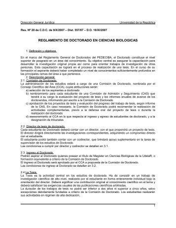 reglamento de doctorado en ciencias biologicas - Sistema de ...