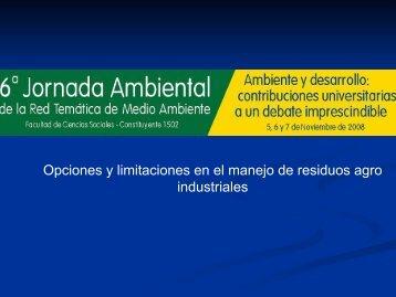 Opciones y limitaciones en el manejo de residuos agro industriales