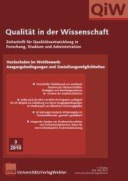Qualität in der Wissenschaft - UniversitätsVerlagWebler