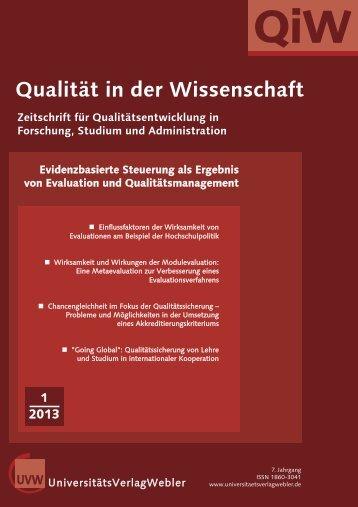 Heft 1 / 2013 - UniversitätsVerlagWebler