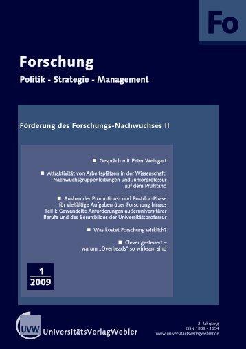 Heft 1 / 2009 - UniversitätsVerlagWebler