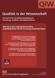 QiW 4 2010.qxd - UniversitätsVerlagWebler