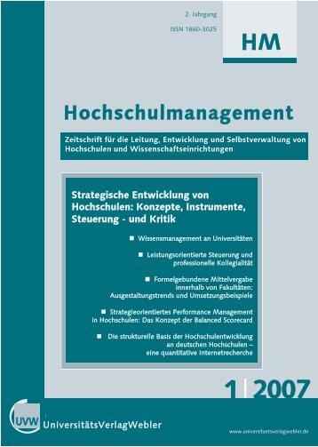 Heft 1/2007 - UniversitätsVerlagWebler