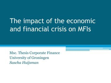 The impact of the economic and financial crisis on MFIs - University ...