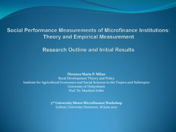 Social Performance of Rural Microfinance Institutions - University ...