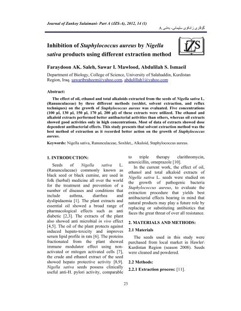 Inhibition of Staphylococcus aureus by Nigella sativa products using
