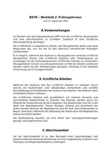BSTR – Merkblatt 2: Prüfungsformen A. Vorbemerkungen B ...