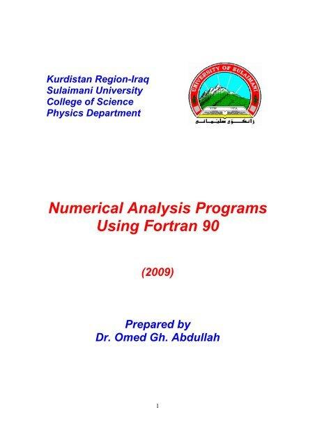 Numerical Analysis Programs Using Fortran 90 - University of