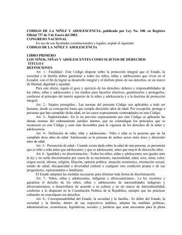CODIGO DE LA NIÑEZ Y ADOLESCENCIA, publicado por Ley No