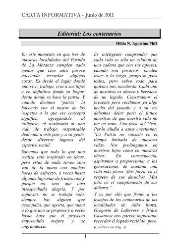 Carta Informativa 26 - Junio 2011 - Universidad Nacional de La ...